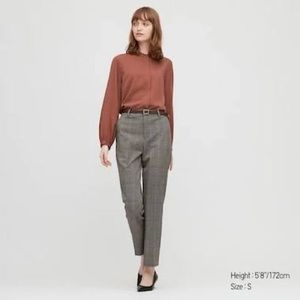 UNIQLO - Rayon Band Collar Long Sleeve Blouse